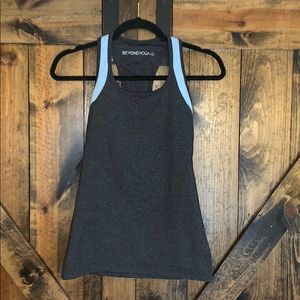 Beyond yoga grey light blue workout tank top!
